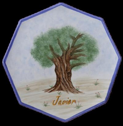Plato octogonal olivo